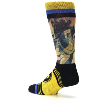 Image of Yellow Black X-Men Wolverine Sublimated Men's Casual Socks (side-2-back-14)