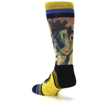 Image of Yellow Black X-Men Wolverine Sublimated Men's Casual Socks (side-2-back-15)