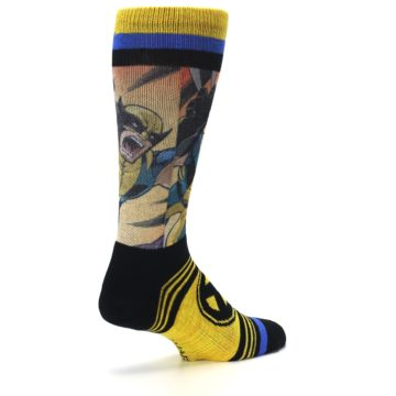 Image of Yellow Black X-Men Wolverine Sublimated Men's Casual Socks (side-1-back-22)