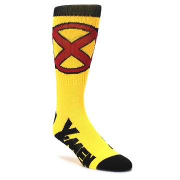 yellow red black XMen suit up novelty dress sock by BIOWORLD