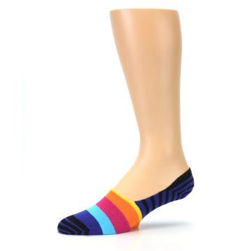 Image of Blue Black Multi Stripe Men's Liner Socks (side-2-10)