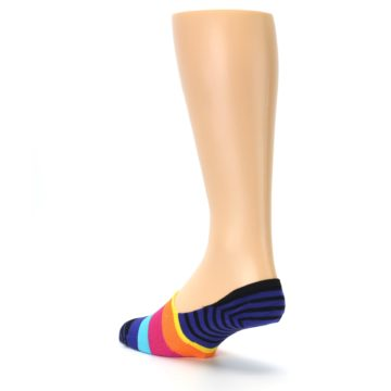 Image of Blue Black Multi Stripe Men's Liner Socks (side-2-back-15)