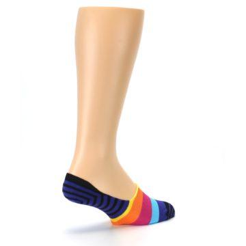 Image of Blue Black Multi Stripe Men's Liner Socks (side-1-back-22)