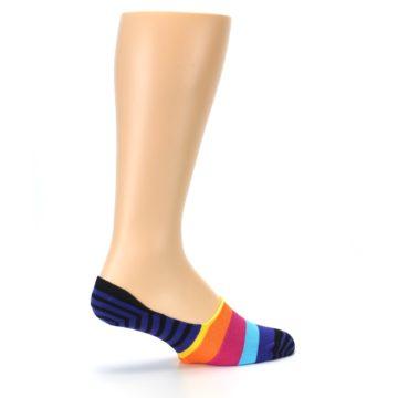 Image of Blue Black Multi Stripe Men's Liner Socks (side-1-23)