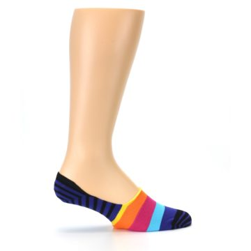 Image of Blue Black Multi Stripe Men's Liner Socks (side-1-24)