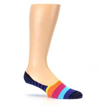 Image of Blue Black Multi Stripe Men's Liner Socks (side-1-25)