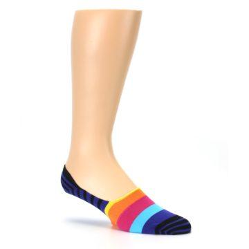Image of Blue Black Multi Stripe Men's Liner Socks (side-1-26)