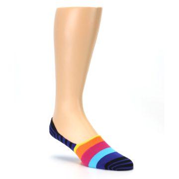 Image of Blue Black Multi Stripe Men's Liner Socks (side-1-27)