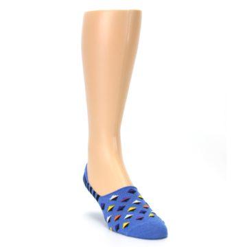 Image of Blue Black Diamond Stripes Men's Liner Socks (side-1-front-02)
