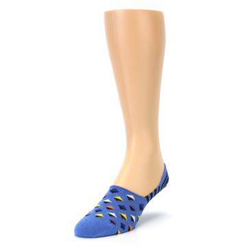 Image of Blue Black Diamond Stripes Men's Liner Socks (side-2-front-07)