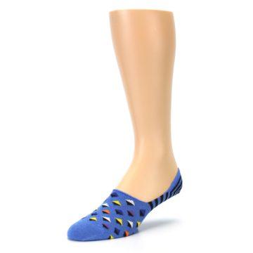 Image of Blue Black Diamond Stripes Men's Liner Socks (side-2-front-08)