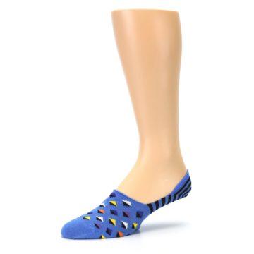 Image of Blue Black Diamond Stripes Men's Liner Socks (side-2-09)