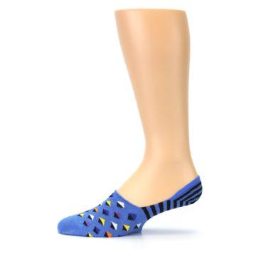 Image of Blue Black Diamond Stripes Men's Liner Socks (side-2-11)