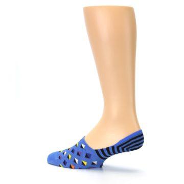 Image of Blue Black Diamond Stripes Men's Liner Socks (side-2-13)