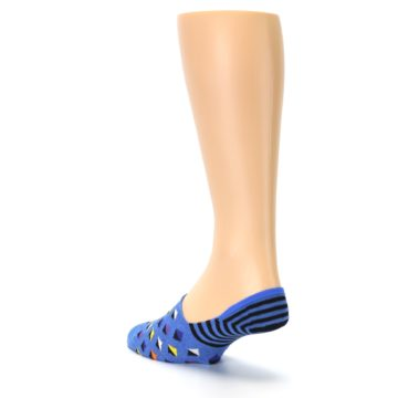 Image of Blue Black Diamond Stripes Men's Liner Socks (side-2-back-15)