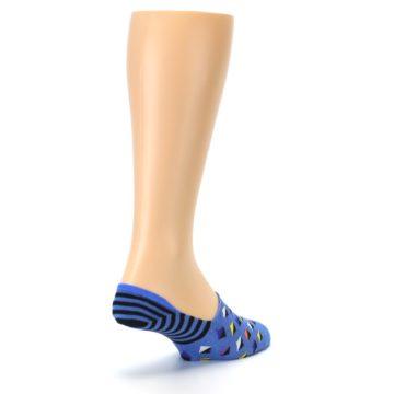 Image of Blue Black Diamond Stripes Men's Liner Socks (side-1-back-21)