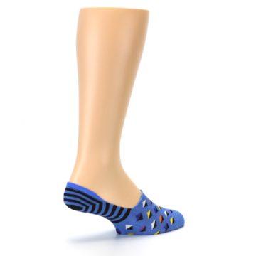 Image of Blue Black Diamond Stripes Men's Liner Socks (side-1-back-22)