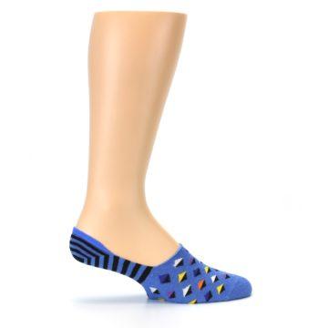 Image of Blue Black Diamond Stripes Men's Liner Socks (side-1-24)