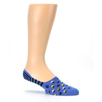 Image of Blue Black Diamond Stripes Men's Liner Socks (side-1-25)