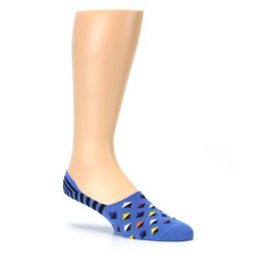 Image of Blue Black Diamond Stripes Men's Liner Socks (side-1-26)