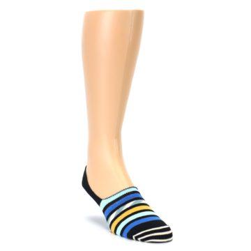 Image of Black Blue Stripes Men's Liner Socks (side-1-front-02)