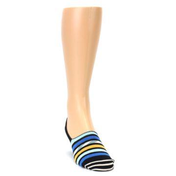 Image of Black Blue Stripes Men's Liner Socks (side-1-front-03)