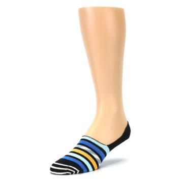 Image of Black Blue Stripes Men's Liner Socks (side-2-front-08)