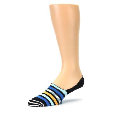 Image of Black Blue Stripes Men's Liner Socks (side-2-09)