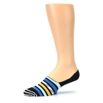 Image of Black Blue Stripes Men's Liner Socks (side-2-10)