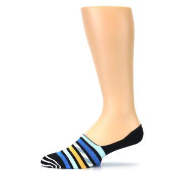 Image of Black Blue Stripes Men's Liner Socks (side-2-11)