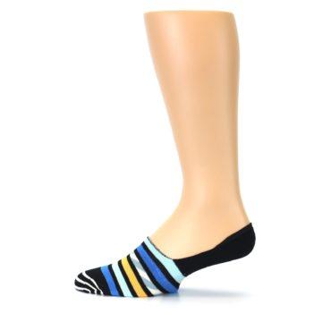 Image of Black Blue Stripes Men's Liner Socks (side-2-12)