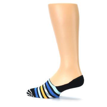 Image of Black Blue Stripes Men's Liner Socks (side-2-13)