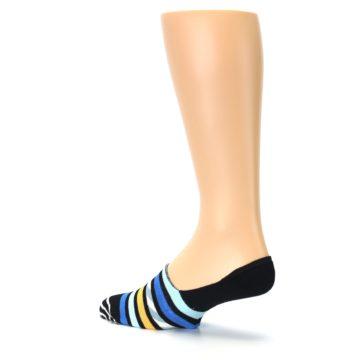 Image of Black Blue Stripes Men's Liner Socks (side-2-back-14)