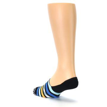Image of Black Blue Stripes Men's Liner Socks (side-2-back-15)