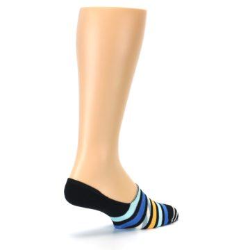 Image of Black Blue Stripes Men's Liner Socks (side-1-back-22)
