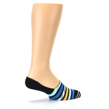 Image of Black Blue Stripes Men's Liner Socks (side-1-23)