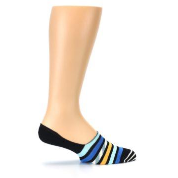 Image of Black Blue Stripes Men's Liner Socks (side-1-24)