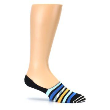 Image of Black Blue Stripes Men's Liner Socks (side-1-25)