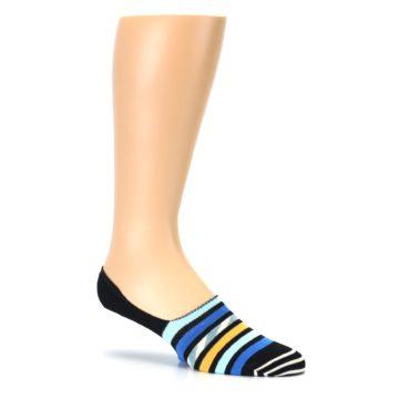 Image of Black Blue Stripes Men's Liner Socks (side-1-26)