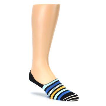 Image of Black Blue Stripes Men's Liner Socks (side-1-27)