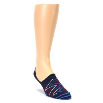 Image of Blue Red Zig-Zag Men's Liner Socks (side-1-front-02)
