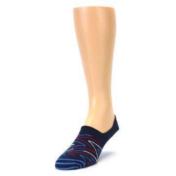 Image of Blue Red Zig-Zag Men's Liner Socks (side-2-front-07)