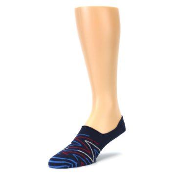 Image of Blue Red Zig-Zag Men's Liner Socks (side-2-front-08)