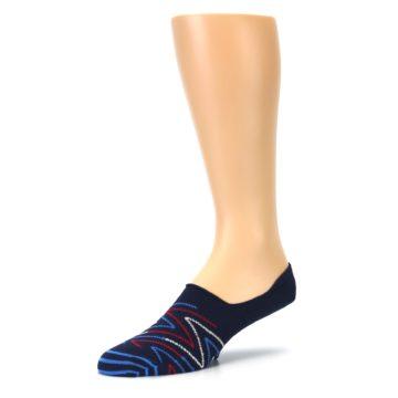 Image of Blue Red Zig-Zag Men's Liner Socks (side-2-09)