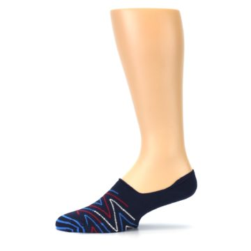 Image of Blue Red Zig-Zag Men's Liner Socks (side-2-11)