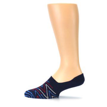 Image of Blue Red Zig-Zag Men's Liner Socks (side-2-12)