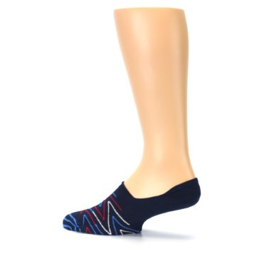 Image of Blue Red Zig-Zag Men's Liner Socks (side-2-13)