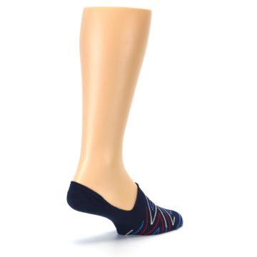 Image of Blue Red Zig-Zag Men's Liner Socks (side-1-back-22)