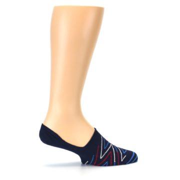 Image of Blue Red Zig-Zag Men's Liner Socks (side-1-24)