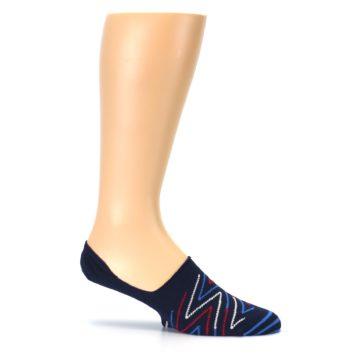 Image of Blue Red Zig-Zag Men's Liner Socks (side-1-25)